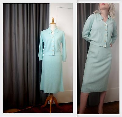Stunning Hand Knit Suit Modest Midi Skirt Sweater two piece Blue S M Vintage 60s
