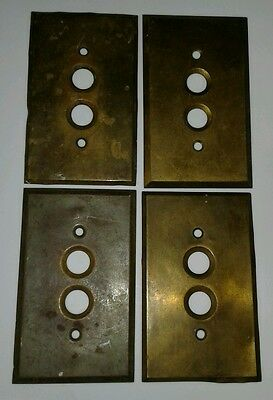 4 Old Brass Antique single Push Button Light Switch Wall Plate Covers
