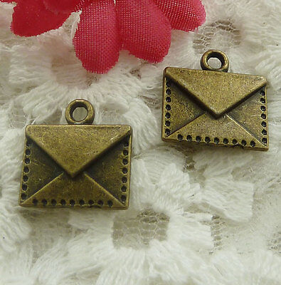 free ship 60 pieces bronze plated envelope charms 15x14mm #2128