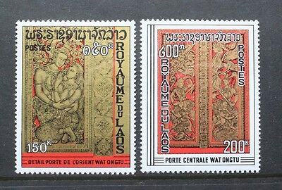 LAOS 1969 Wat Ongtu Temple. Set of 2. Mint Never Hinged. SG256/257.