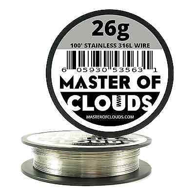 100 ft. 26 Gauge AWG Stainless Steel Resistance Wire 0.40 mm 26g 100'Vape RDA