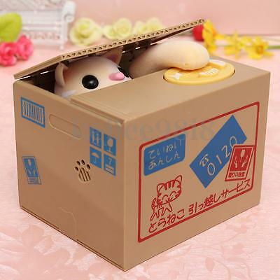 Piggy Bank Cat Stealing Coins Doggy Automated Saving Money Box Cute Xmas Gift
