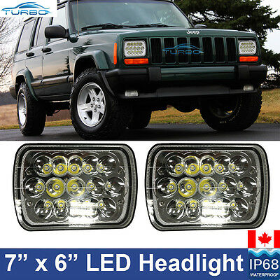 "Pair 7x6"" CREE LED Headlights Crystal Clear Sealed Beam Headlamp Jeep XJ YJ"