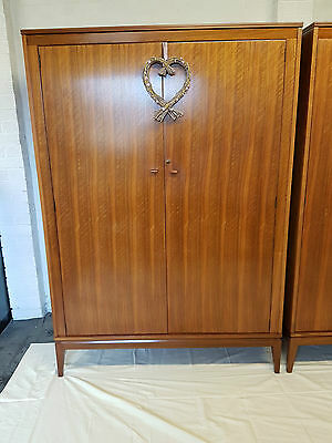 STUNNING LARGE MID CENTURY WALNUT TRIPLE WARDROBE BY ALFRED COX FOR HEALS 1960's