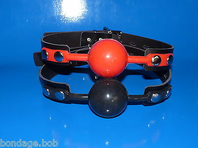NEW real leather locking strap RED or BLACK UK SILICONE BALL GAG rubber ballgag
