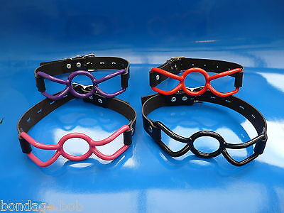 SALE real leather locking silicone rubber SPIDER RING BLACK RED PINK ball gag