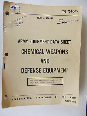 VNTG US Army Data Manual TM 750-5-15 CHEMICAL EXPLOSIVES DEFENCE EQUIPMENT 70S