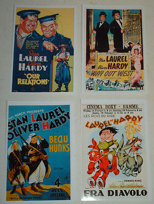 Laurel And Hardy Vintage Movie Posters Job Lot Set 10  6 X 4 Glossy Cards