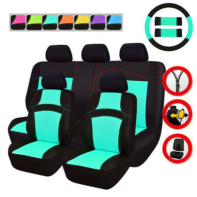 Fasion High Quality Mint Blue Summer Car Seat Covers Front Rear Set Split Seat