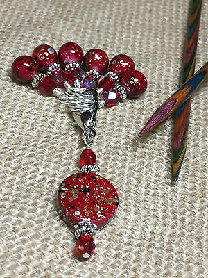 Handmade Snag Free Stitch Markers & Matching Holder-Red Speckle Knitting Markers