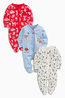 ВNWT NEXT Babygrows • Embroidered Deer Sleepsuits 3pk • 100% Cotton • 0-3 Months