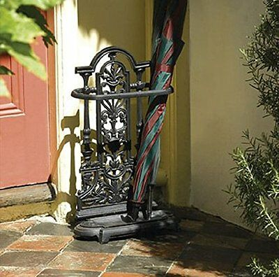 Heavy Duty Cast Iron Umbrella Stand Brolly Ornate Metal Antique Vintage Style