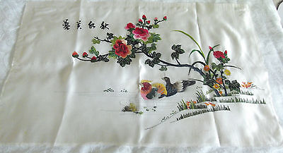 """Vintage-Chinese Silk Embroidery Picture-Ducks-& Roses 30"""" X 19"""""""