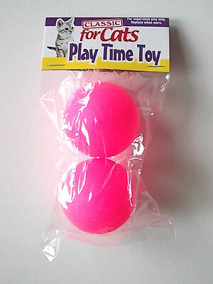 Classic Cat Play Time Toy - Pink Ping Pong Balls ( Pack Of 2 ) - New