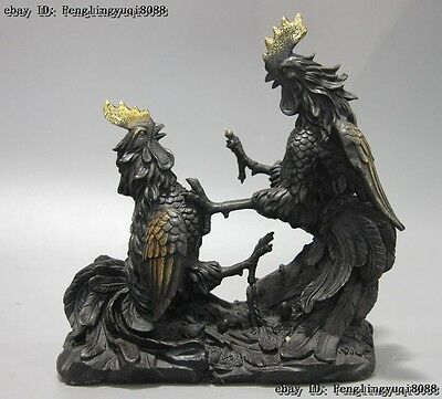 Chinese Fengshui Bronze Copper Lucky Wealth Combat Rooster Cockfighting Statue