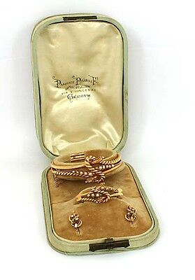 Antique Victorian Estate 14k Rose Gold & Pearl Bangle, Earrings & Pin Set