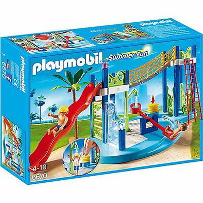 Playmobil 6670 Summer Fun Swimming Pool Aqua Water Park Slide Toy For Kids 4+