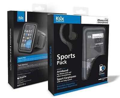 Ksix Sport Pack Headphones + Armband Iphone 4 4s   Mobile accessories