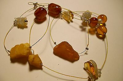 Stunning Potpouri Of Baltic Amber, Agate, Natural Pearls Necklace 23.9 Gram