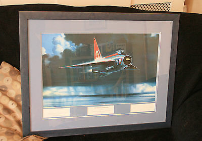 Large Framed Prints of English Electric Lightnings one signed by Roland Beaumont