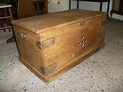 "2' 6"" Antique Solid Pine Trunk Coffee Table Blanket Chest Toy Box Vintage Old"