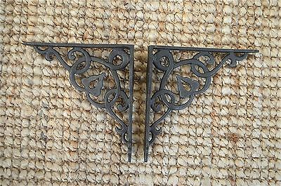 Pair of cast iron small Art Nouveau wall shelf brackets bracket 5 inch AL37