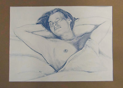 Original Life Study of a Nude Sleeping 22cm x 16cm signed by artist 'Kip'