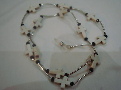 Eyeglass spectacle sunglass chain white crosses & silver plate tube beads gift