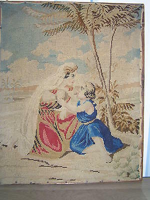 Antique 1840 Needlework Wool Embroidery / Sampler
