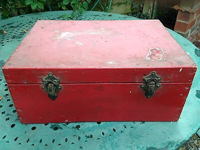 Vintage French Red Wooden Old Box