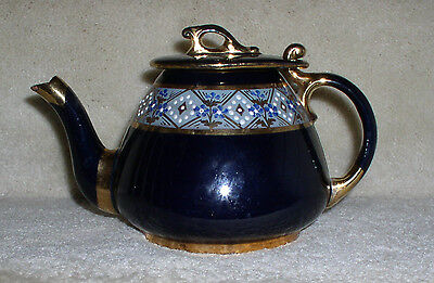 Blue And Gold Cermic Teapot Handpainted