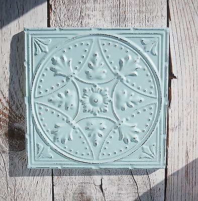 Tin ceiling tile Reproduction Framed ready to hang Aqua distressed Blue