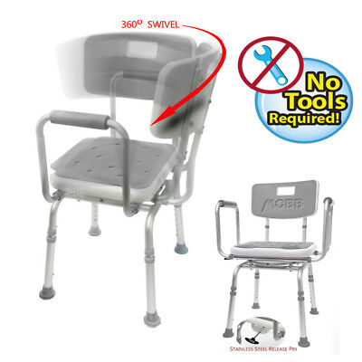 MOBB - Shower Chair SWIVEL PADDED Seat  Adjustable Bath Seat - Lightweight