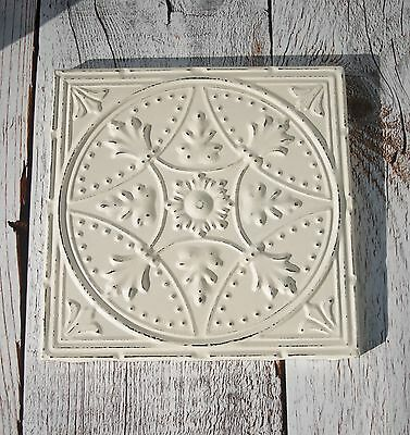Tin ceiling tile Reproduction Framed ready to hang Ivory Cream distressed
