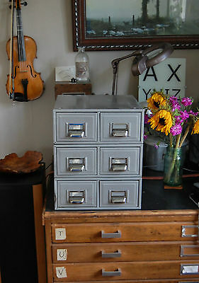 3 Sets Two Drawer Card Index 5 x 3 Filing Cabinets Retro Steel Chrome Multi