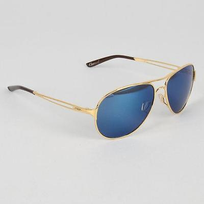 New Oakley Caveat Sunglasses Polished Gold/Ice Iridium $190 Authentic w Case