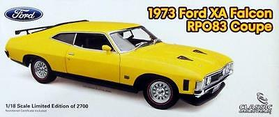 1973 Ford XA Falcon RPO83 Coupe Yellow Glow 1:18 Classic Carlectables Cars