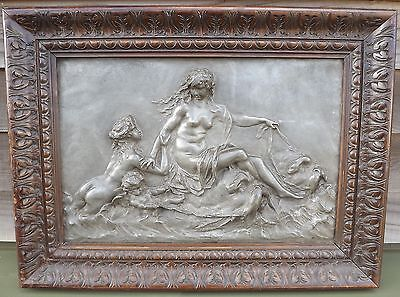 ANTIQUE C19th FRAMED METAL CLASSICAL RELIEF-WORK PLAQUE BY CLAUDE-MICHEL CLODION