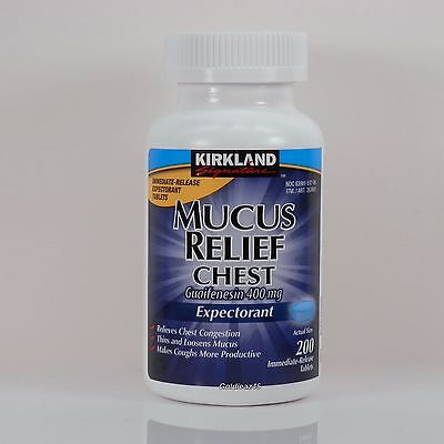 Kirkland Mucus Relief 400 mg Guaifenesin Relieves Chest Congestion 200 Tablets