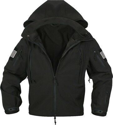 Black Special Ops Soft Shell Waterproof Military Jacket w/ US Flag Patches