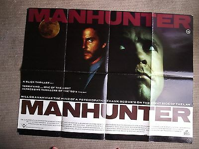Vintage Cult Uk Manhunter ( Silence Lambs) Real Quad Film Movie Poster Inch
