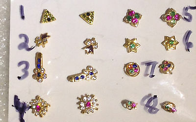 22 ct gold indian nose/ ear stud   x 1 piece  assorted colour designs lot 24