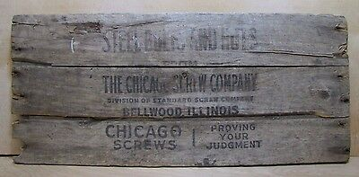 Old CHICAGO SCREW COMPANY Wooden Box Panel Folk Art Sign Steel Bolts And Nuts