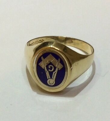 SOLID-9ct-GOLD REVESABLE BLUE-ENAMELLED-MASONIC RING