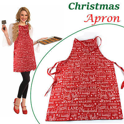 Christmas Kitchen Apron Chef Cooking Baking Novelty Red Festive Cotton Polyester