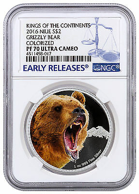2016 Niue $2 1 oz. Silver Kings Continents Grizzly Bear NGC PF70 UC ER SKU43534