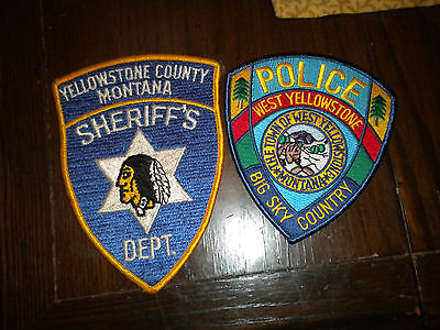 2 excellent police patches Yellowstone Co, Sheriff W. Yellowstone Police