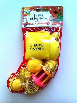 Good Girl Cat Toy Christmas Stocking - 8 Toys - Yellow - New
