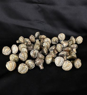 "Lot of 41 Vintage Brass Round Leaf Drawer Cabinet Pulls Knobs 1 1/4"" x 1 1/4"""