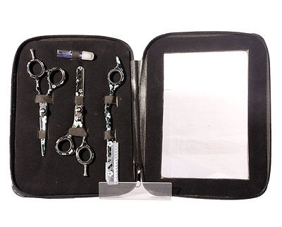 5.5in White Flower Hairdressing Scissors Thinners & Razor Set in Black zip Pouch
